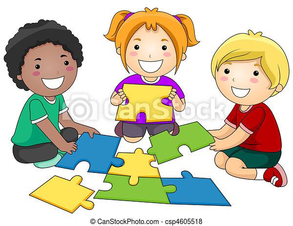 puzzle, bambini - csp4605518