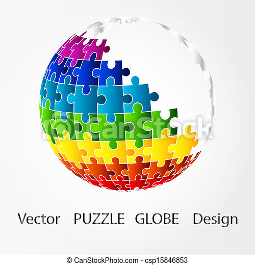 puzzle, disegno, globo, 3d - csp15846853