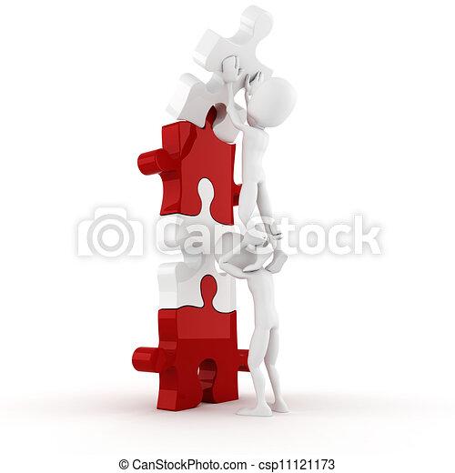puzzle, spinta, posto, uomo, pezzo, relativo, 3d - csp11121173