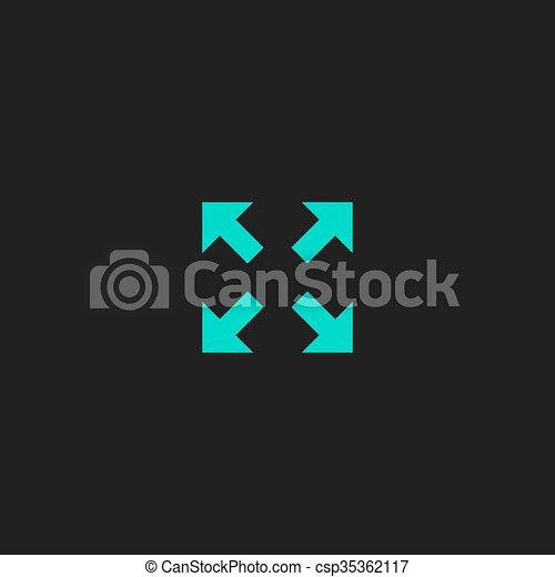 quattro, indicazione, frecce, icona - csp35362117