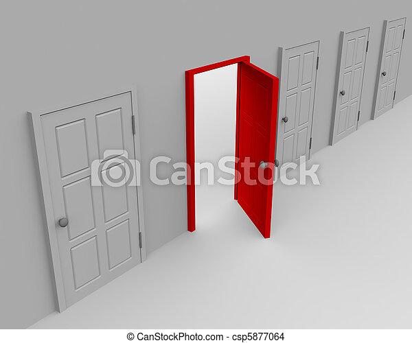 quattro, porta aperta, chiuso, uno - csp5877064