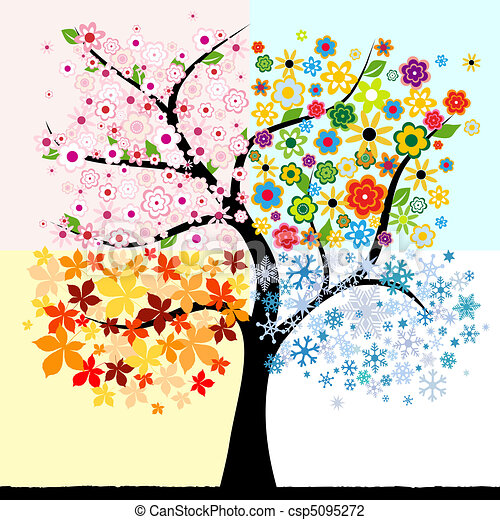 quattro, stagione, albero - csp5095272