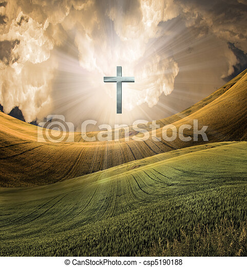 radiates, cielo, croce, luce - csp5190188