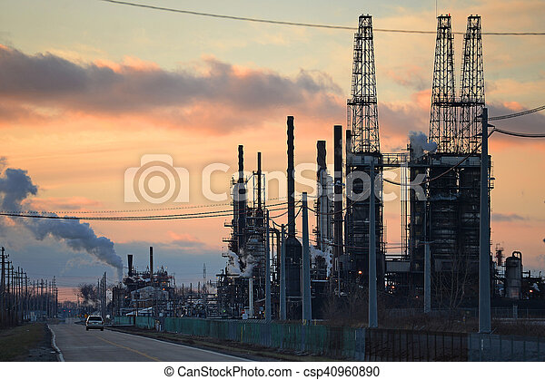 raffineria, olio, tramonto - csp40960890