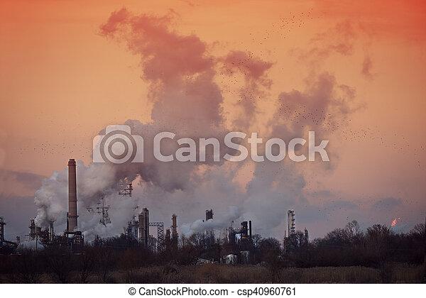 raffineria, olio, tramonto - csp40960761
