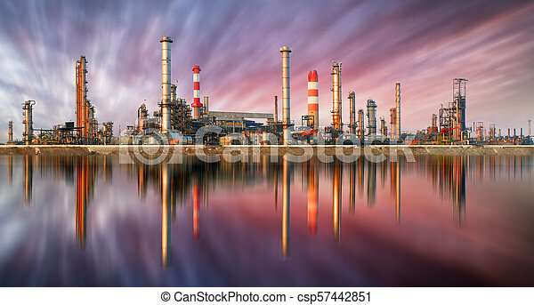 raffineria, olio, tramonto, riflessione - csp57442851
