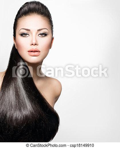 ragazza, capelli foggiano, modello, sano, lungo, diritto - csp18149910