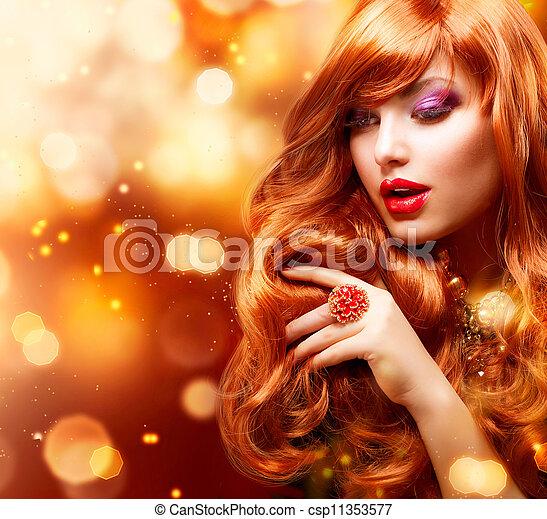 ragazza, capelli foggiano, portrait., ondulato, dorato, rosso - csp11353577
