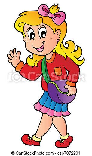 ragazza, cartone animato, camminare, scuola - csp7072201