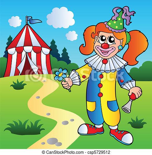 ragazza, circo, cartone animato, pagliaccio, tenda - csp5729512