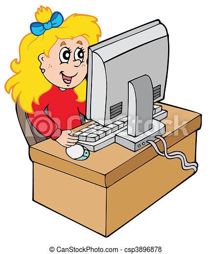 ragazza, computer, cartone animato, lavorativo - csp3896878