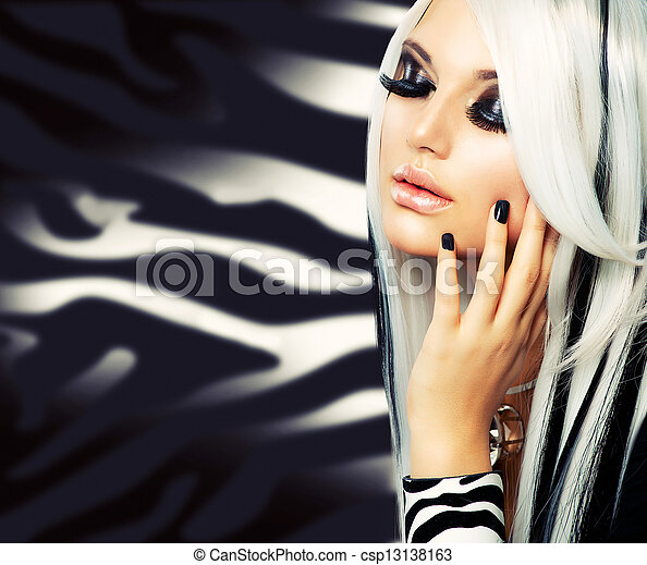ragazza, moda, bellezza, style., capelli neri, lungo, bianco - csp13138163
