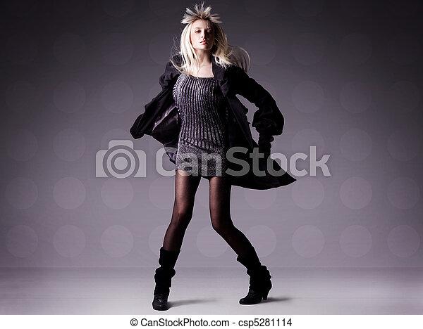ragazza, moda, bello, foto - csp5281114