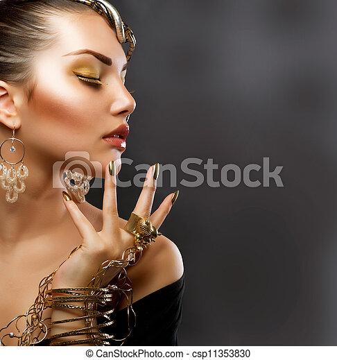 ragazza, moda, makeup., oro, ritratto - csp11353830