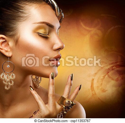 ragazza, moda, makeup., oro, ritratto - csp11353767