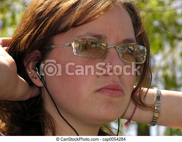 ragazza, occhiali da sole - csp0054284