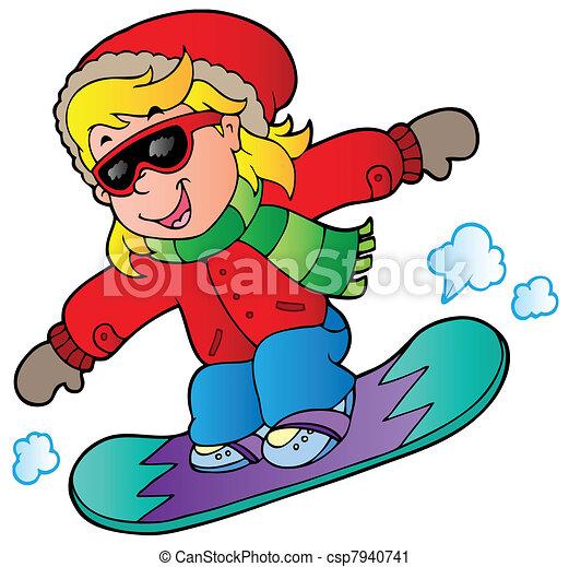 ragazza, snowboard, cartone animato - csp7940741