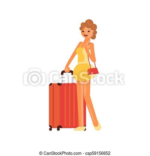 ragazza, valigia - csp59156652