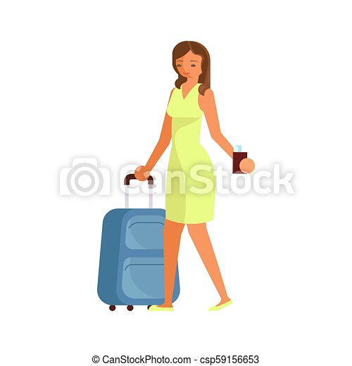 ragazza, valigia - csp59156653