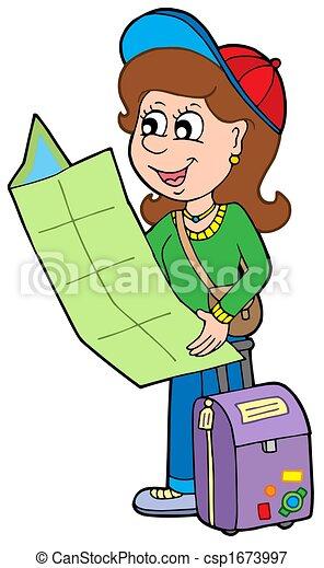 ragazza, viaggiatore, cartone animato - csp1673997