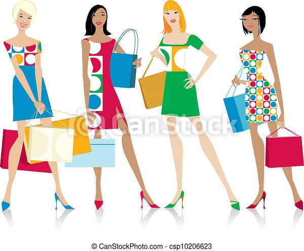 ragazze, borse da spesa - csp10206623