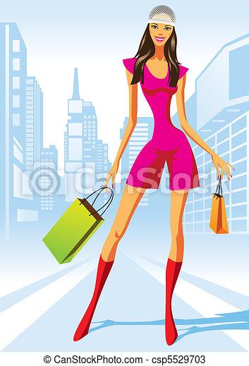 ragazze, moda, shopping - csp5529703