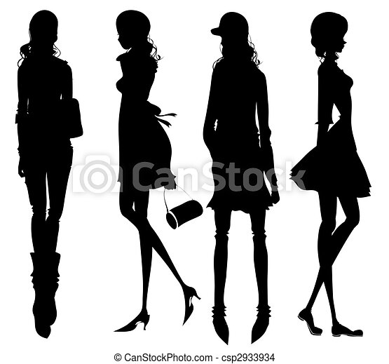 ragazze, moda, silhouette - csp2933934
