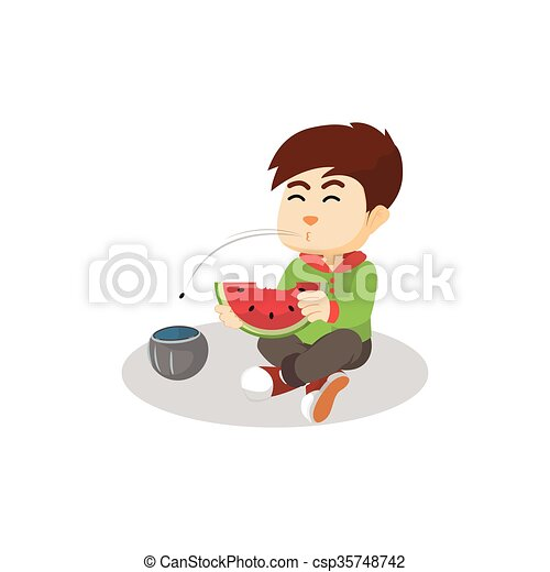 ragazzo, anguria mangia - csp35748742