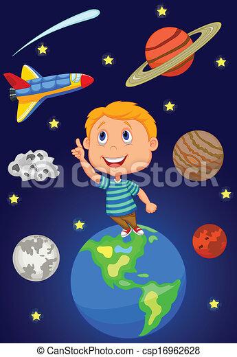 ragazzo, cartone animato, cielo, dall'aspetto - csp16962628