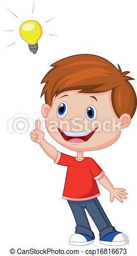 ragazzo, cartone animato, idea, grande - csp16816673