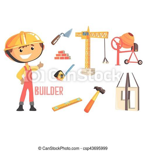 ragazzo, costruttore, oggetti, professione, lavoratore, illustrazione, bambini, relativo, professionale, costruzione, futuro, sogno, occupazione - csp43695999