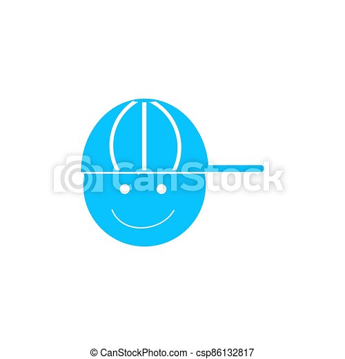 ragazzo, flat., icona, berretto - csp86132817