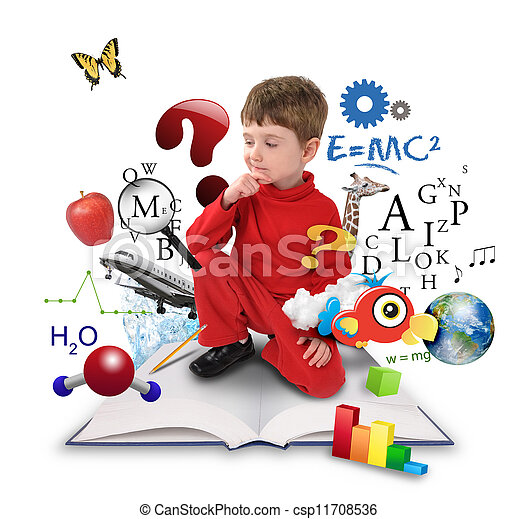 ragazzo, pensare, scienza, giovane, libro, educazione - csp11708536