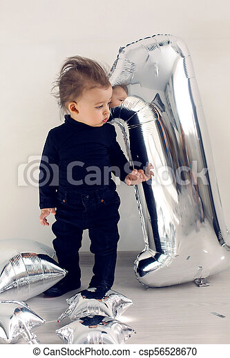 ragazzo, uno, nero, anno, bambino, argento, vestiti - csp56528670