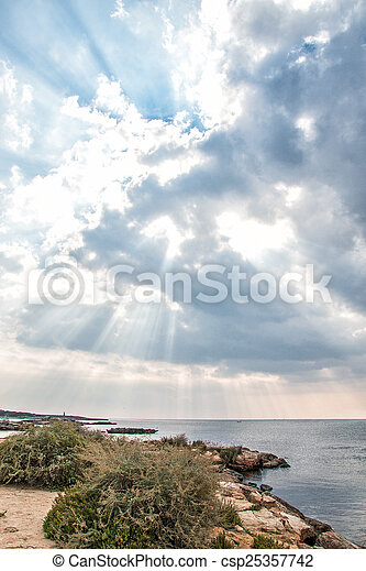 raggi, sea., light., sopra, tramonto - csp25357742