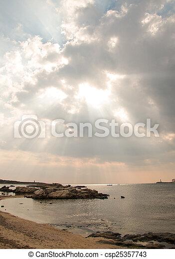 raggi, sea., light., sopra, tramonto - csp25357743