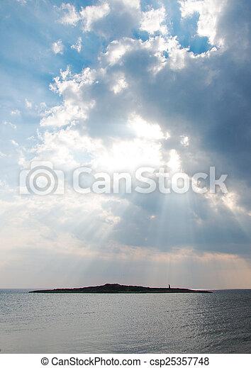 raggi, sea., light., sopra, tramonto - csp25357748
