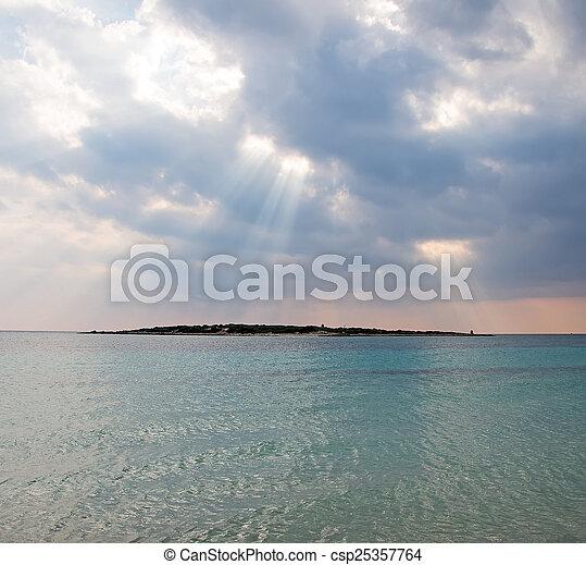 raggi, sea., light., sopra, tramonto - csp25357764