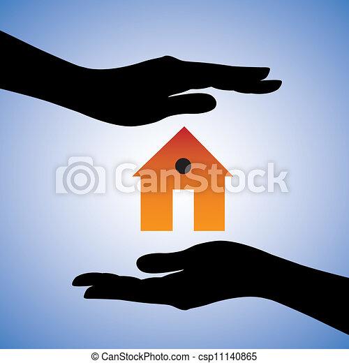 rappresentare, concetto, casa, sistema, femmina, assicurazione casa, contiene, due, sicurezza, house/home., simbolo., illustrazione, protezione, mani, grafico, questo, installare, lattina, sicurezza, ecc., o - csp11140865