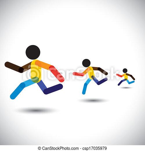 rappresentare, persona, astratto, sprint, addestramento, cardio, icone, vincente, anche, salute, da corsa, colorito, sfida, correndo, allenamenti, grafico, maratona, questo, competition., ecc, vettore, lattina, atleti - csp17035979