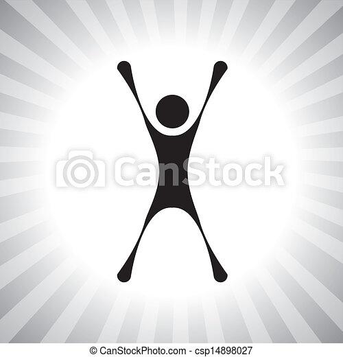 rappresentare, semplice, graphic., persona, realizzazione, ecc, vincitore, individuale, vincente, anche, eccitato, eccitato, gioia, secondo, illustrazione, saltare, challenge-, super, questo, concorrenza, persona, vettore, lattina - csp14898027