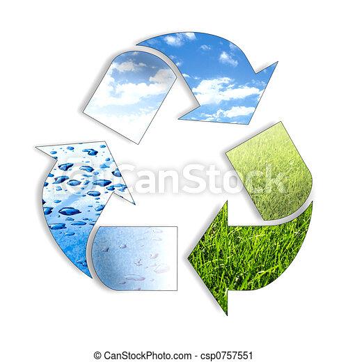 recycl, tre, elemento, ing, simbolo - csp0757551