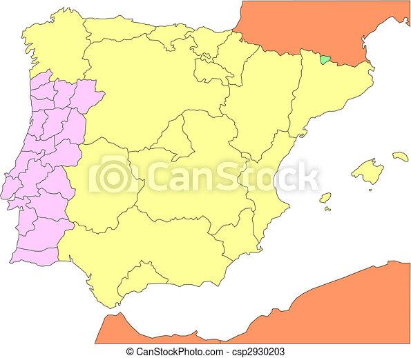 Cartina Del Portogallo Muta.Cartina Della Spagna Con Le Regioni