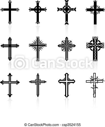 religioso, disegno, croce, collezione - csp3524155