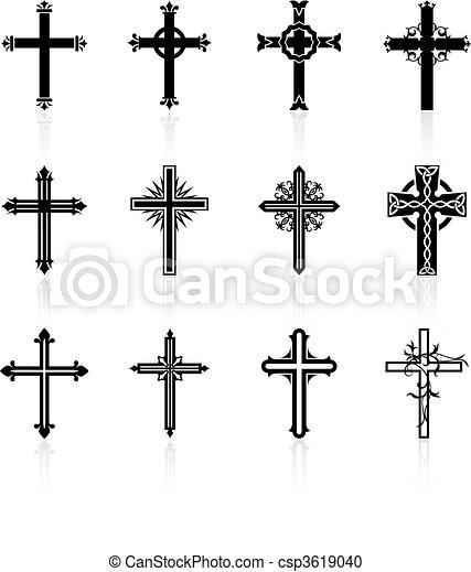 religioso, disegno, croce, collezione - csp3619040