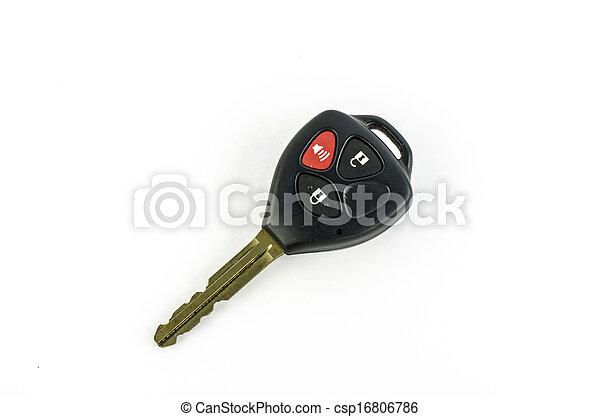 remoto, fondo, automobile, isolato, chiave, bianco - csp16806786