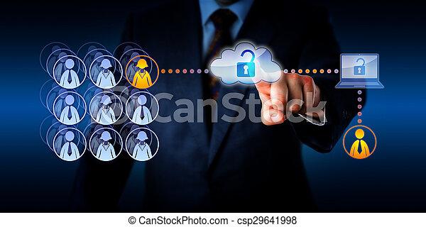remoto, lavoratore, accesso, direttore, sbloccando, nuvola - csp29641998