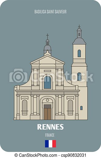 rennes, basilica, santo, sauveur, francia - csp90832031