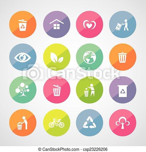 riciclare, ambiente, icona - csp23226206