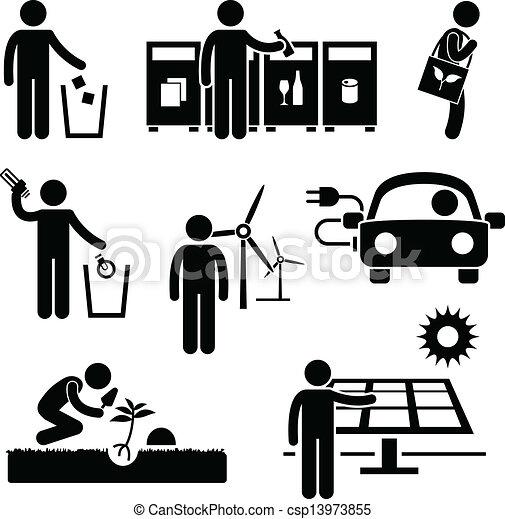 riciclare, ambiente, verde, uomo - csp13973855
